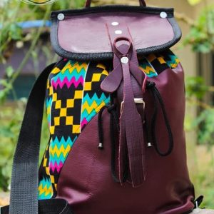 Africa print leather back pack